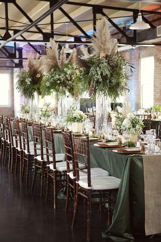 tendencias 2019  decoracion de boda con pampa grass centros de mesa